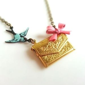 Love Letter Envelope Locket Sparrow Bow Necklace